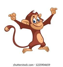 Cute excited monkey cartoon icon. Vector illustration of drawing monkey outlined