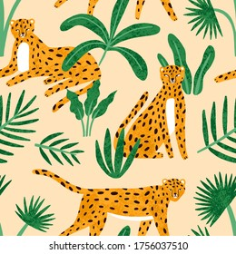 Cute exotic hand drawn leopard with tropical plant seamless pattern. Funny wild cheetah sitting, lying, walking with leaves vector flat illustration. Colorful spotted predatory feline