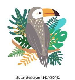 Cute exotic toucan with tropical leaves in jungle on white background. Isolated  cartoon bird on branch.  Vector trendy illustration