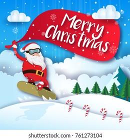 Cute Extreme Snow Boarding Santa Merry Christmas Card