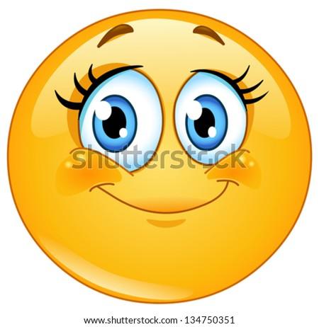 cute eyelashes emoticon stock vector royalty free 134750351