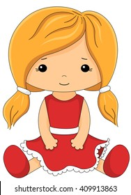 Cute fabric doll in red dress isolated on white