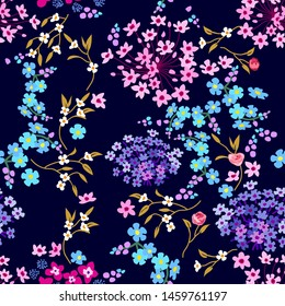 Cute fabric pattern with miniature flowers. Botanical seamless print with different floral elements. Vintage textile collection. On black background.
