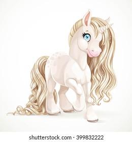 Cute fabulous unicorn with golden mane