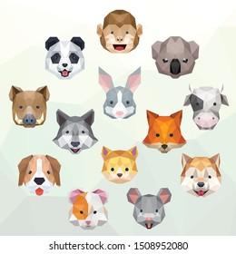 CUTE FACE ANIMAL PET LOW POLY LOGO ICON SYMBOL. TRIANGLE GEOMETRIC POLYGON