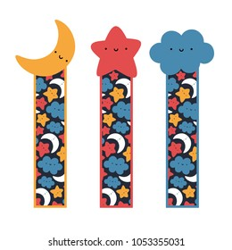 Cute Face Moon, Star and Cloud Bookmarks, Printable Sky Template Bookmark Cartoon Vector