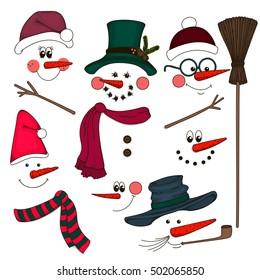 Cute face snowmen collection. Vector illustration.