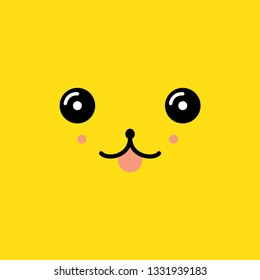 cute face in the style of kawaii vector illustration