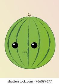 Cute face of  watermelon fruit. Vector Illustration