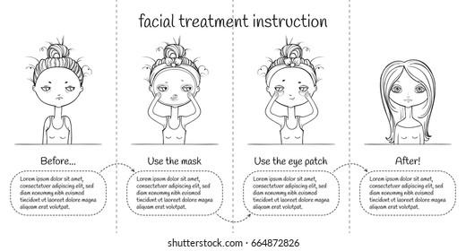 Cute Facial treatment monochrome 4 steps instruction, girl