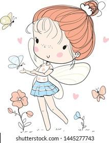 Cute fairy girl with butterflies
