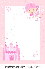Cute Fairy Princess Border Pretty pink fairy character with fairytale castle and pink border with stars.