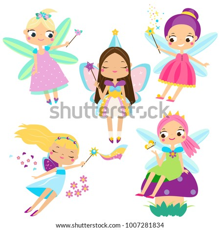 Cute Fairy Set. Beautiful Girl In Fying Fairy Costumes. Funny Winged Elf  Princesses In Cartoon Style. Vector Illustration For Kids And Babies    Vector