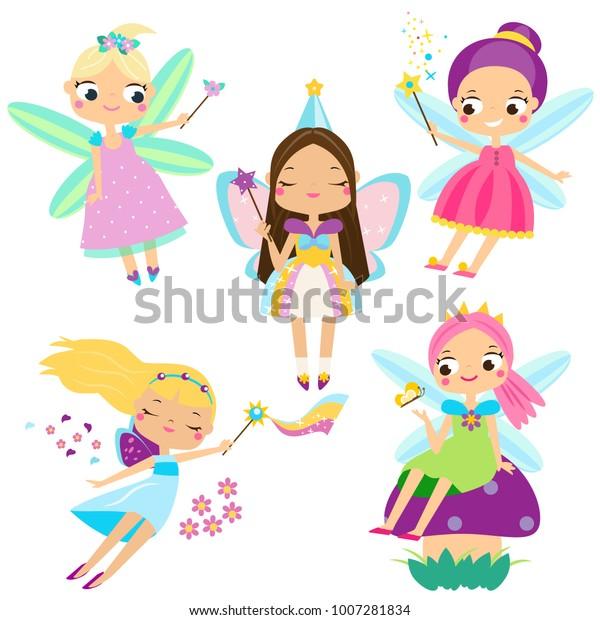 Симпатичный набор Фея. Красивая девушка в феерических костюмах. Забавные крылатые эльфы принцессы в мультяшном стиле. Векторная иллюстрация для детей и младенцев