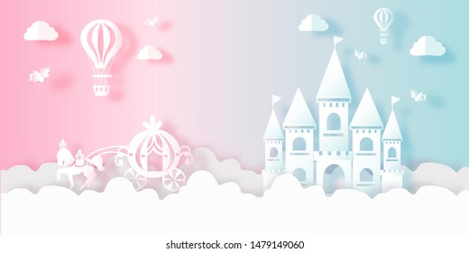 Cute Fairy tale Pastel Balloons Clouds Unicorn Pumpkin Horse Castle Carriage Vectors illustration