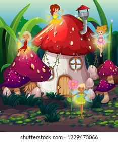 Cute fairy at thr magic land illustration