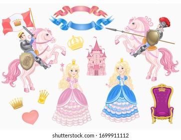 cute fairy-tale characters - prince, princess,  castle