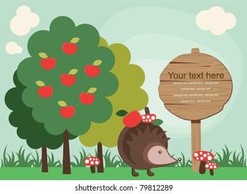 cute fairytale landscape. vector illustration