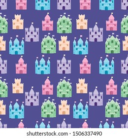 Cute fairytale pattern with castles