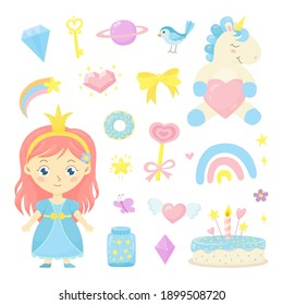 Cute fairytale set with little princess, baby unicorn, rainbow, cake, bird and other magic elements. Fantasy colorful collection for greeting card, birthday, invitation, baby shower, print, poster