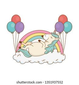 cute fairytale unicorn with balloons helium and rainbow
