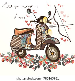 Cute fake hand drawn bike with bunch of spring flowers. Valentine's day card
