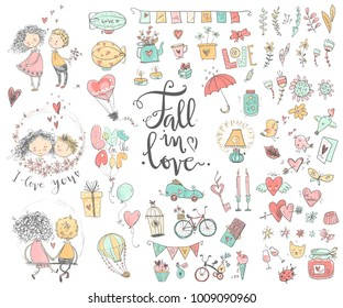 Cute fall in love collection. Nice romantic isolated elements. Flowers, couples, gifts, decorations and romantic atmosphere things. Vector illustration.