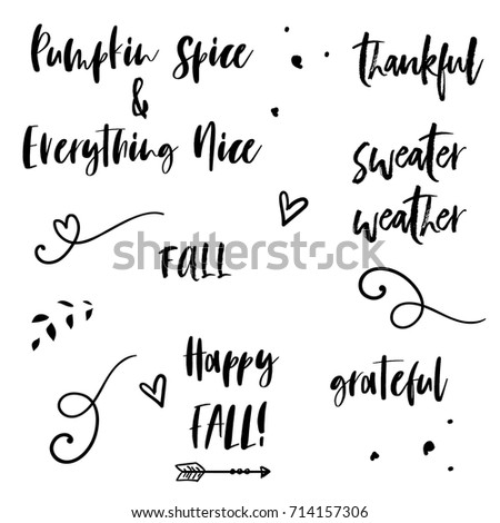 Cute Fall Quotes Cute Fall Quotes Modern Calligraphy Stock Vector (Royalty Free  Cute Fall Quotes