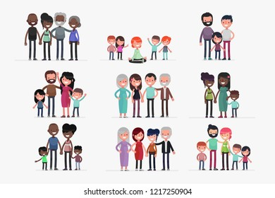 Cute Families isolated vector illustration