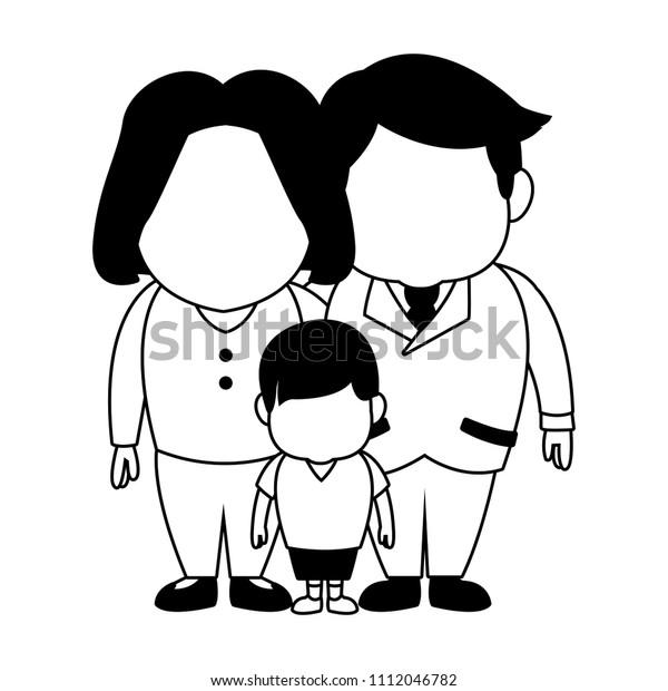 Cute Family Cartoon Black White Stock Vector Royalty Free 1112046782