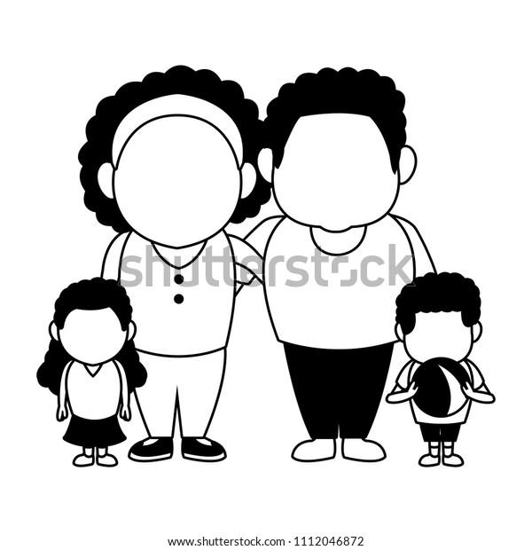 Cute Family Cartoon Black White Stock Vector Royalty Free 1112046872