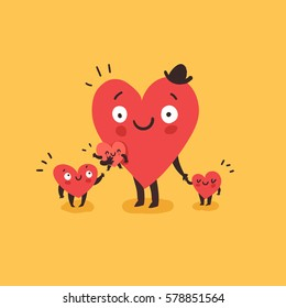 Cute family, daddy with children. Happy Father's day. Hearts characters as symbols of love and family. Vector colorful illustration