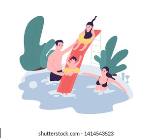 Cute family having fun at water park. Mom, dad and children spend time together in swimming pool. Leisure activity. Funny cartoon characters isolated on white background. Flat vector illustration.
