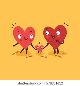 Cute family, parents with child. Hearts characters as symbols of family and love. Vector colorful illustration