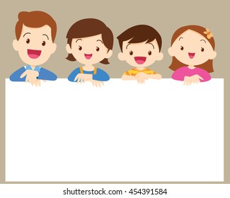 Cute family post smile on a white board, space frame. Dad son mom daughter and  blank banner.