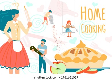 Cute family spending good time together while cooking at home. Tiny people making a Apple pie on cooking utensils and ingredients background. Preparing food concept. Flat Art Vector Illustration