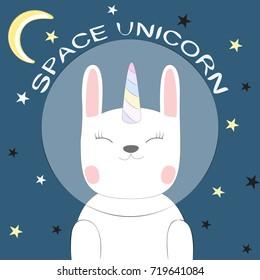 Cute fantasy cat astronaut unicorn. Sweet kids graphics for t-shirts.