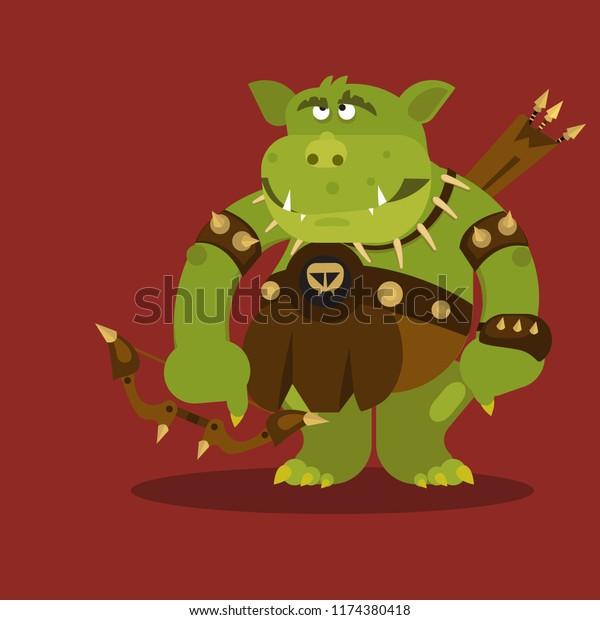 Cute Fantasy Creature Goblin Vector Illustration Stock Vector Royalty Free 1174380418