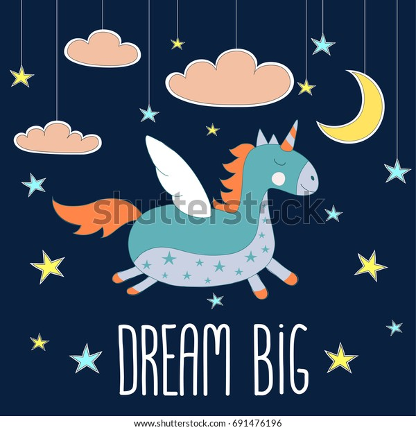 Cute Fantasy Unicorn Flying On Night Stock Vector Royalty