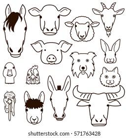 cute farm animal faces line art set