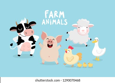 Cute Farm animal vector set. Cow, pig, chicken, chicks, sheep and duck cartoon character collection. Kawaii style.