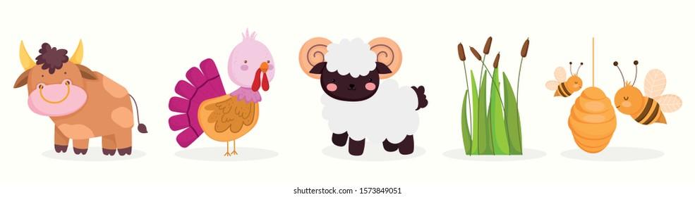 cute farm animals:  bull, goat, turkey, bees, plants vector illustration