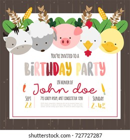 Cute farm animals cartoon illustration for birthday invitation or greeting card design template.