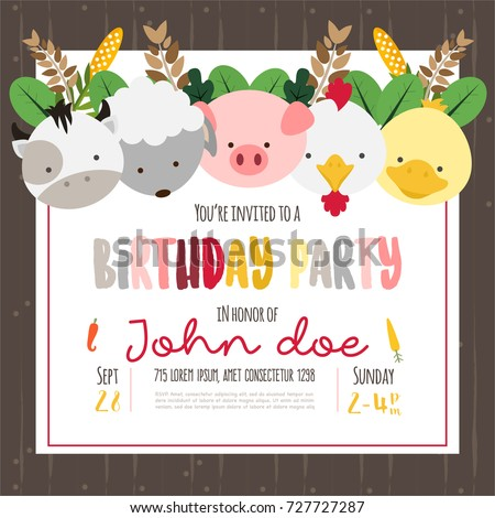 Cute Farm Animals Cartoon Illustration For Birthday Invitation Or Greeting Card Design Template