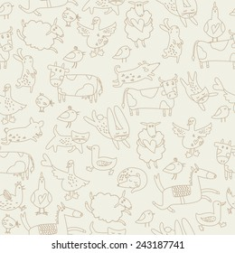 Cute farm animals in cartoon style. Bunnies, dogs, horse, cow, ox, hens, cats, birds, sheep and geese. Seamless background.