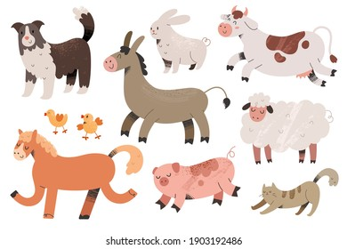 Cute farm animals collection, colored vector illustrations of cow, pig and sheepdog with textured effect. Colored doodle drawing isolated on white background. Domestic animals with face expressions