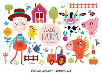 Cute farm animals with funny farmer on a white background. Childish vector illustration in vector.