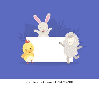 Cute Farm Animals Holding Empty Banner, Bunny, Chicken, Sheep with Blank Sign Board Vector Illustration