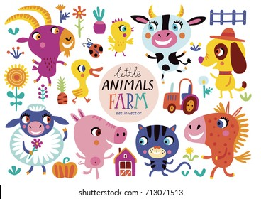 Cute farm animals on a white background. Childish vector illustration of cock, piggy, dog, sheep, chicken, horse, cow, duckling, goat and cat.