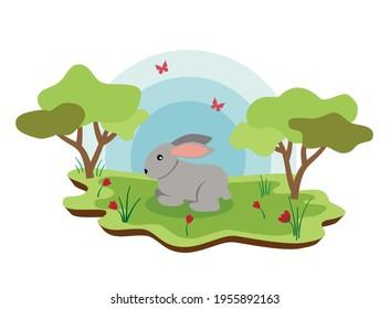 Cute farm animals rabbit with spring landscape. vector cartoon illustration EPS 10